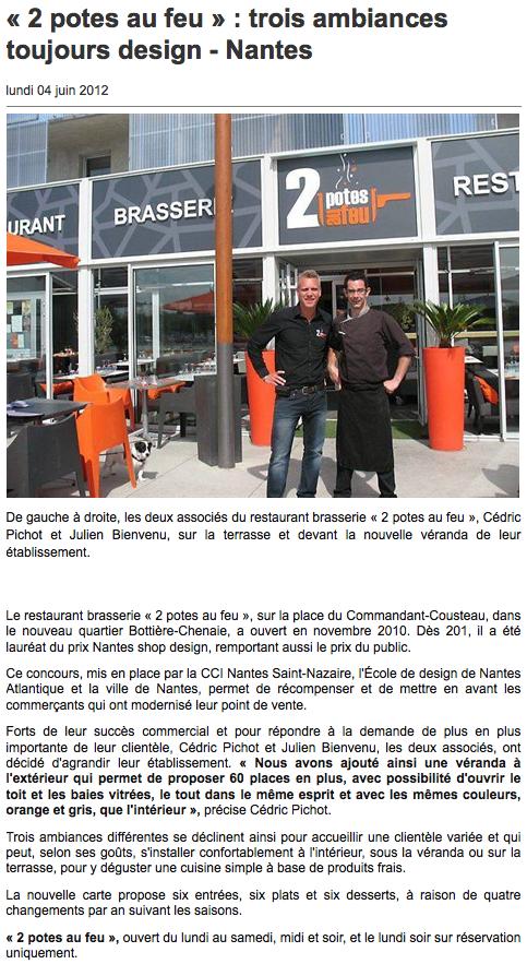 actualit s presse restaurant zone paridis nantes 2 potes au feu. Black Bedroom Furniture Sets. Home Design Ideas
